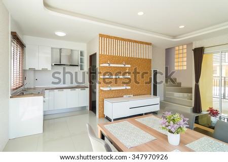 Luxury Interior living room and kitchen - stock photo