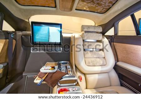 Luxury interior of a Limousine car - stock photo