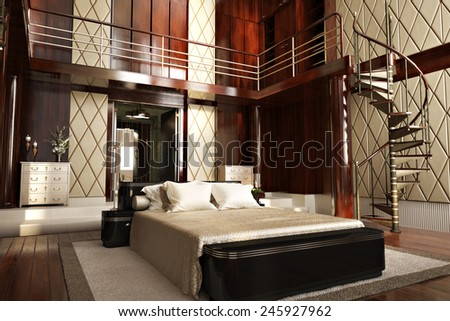 Luxury interior of an elegant bedroom with wood accents. Photo realistic 3d illustration.  - stock photo
