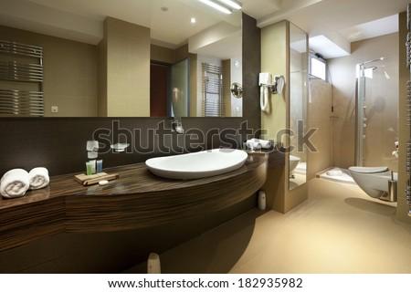 Luxury interior of hotel bathroom - stock photo