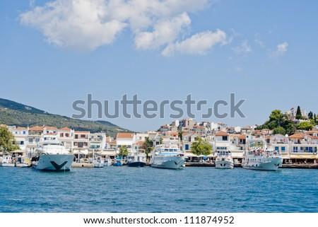Luxury Island,Skiatos View, Skiatos port - stock photo