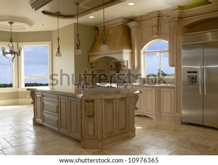 Luxury kitchen cabinets - stock photo