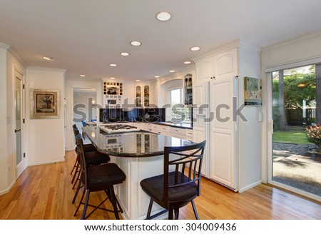 Luxury kitchen wit h brilliant decor and lighting, along with dark glossy counter tops. - stock photo