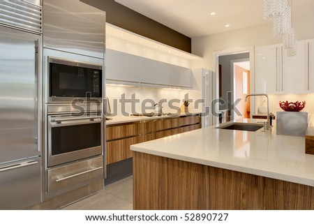 Luxury Kitchen with stainless steel appliances and wood cabinetry - stock photo