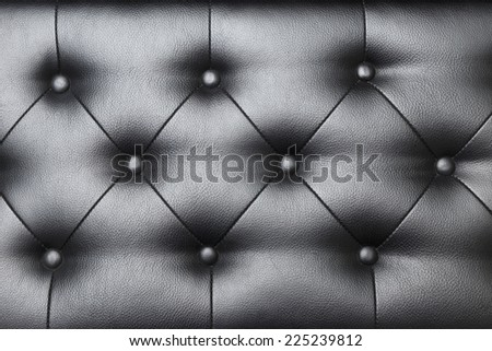 Luxury leather button-tufted black chair texture. - stock photo