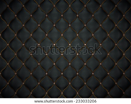 Luxury leather pattern with golden wire and diamonds. luxurious and comfort - stock photo