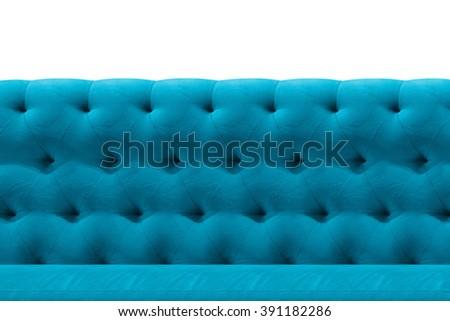 Luxury Light Blue sofa velvet cushion close-up pattern background on white - stock photo