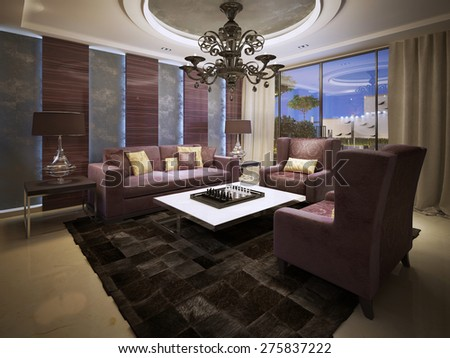 Luxury living room art deco style. 3d render