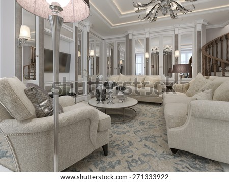 Luxury living room classic style. 3d render - stock photo