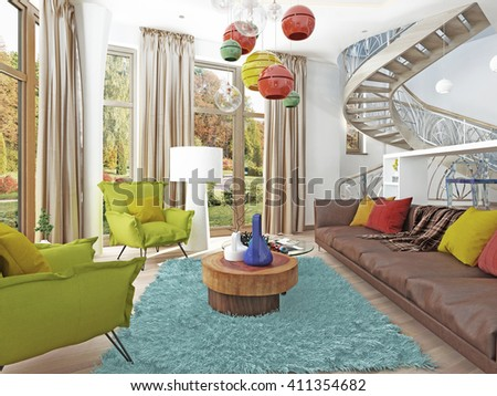 Luxury Living Room In Style Of Kitsch. Contemporary Living With Large  Leather, Brown