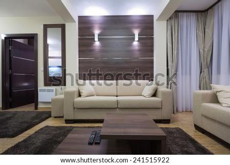 Luxury living room interior in the evening - stock photo