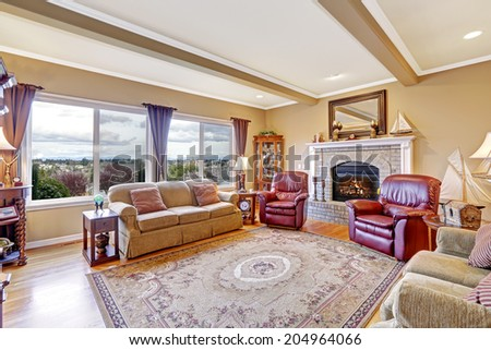 luxurious living room furniture. Luxury living room interior with brick background fireplace  hardwood floor and rug Furnished Beautiful Living Room Interior New Stock Photo 360591503