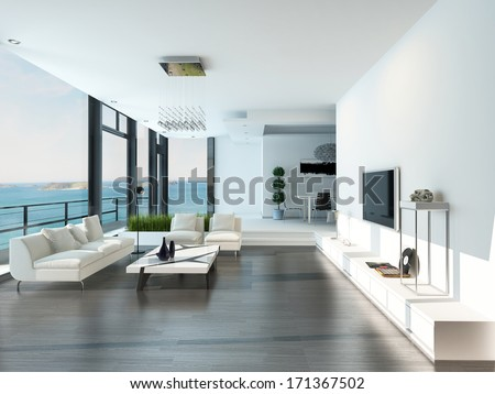 Luxury living room interior with white couch and seascape view - stock photo