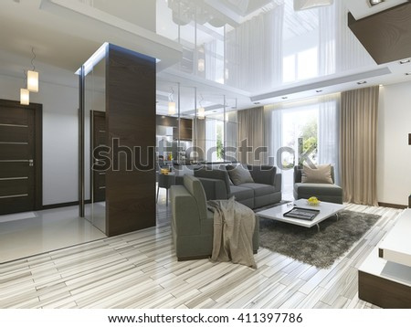Luxury living room studio in a modern style with comfortable armchairs and a sofa in olive green. Apartment with kitchen and a hallway with cloakroom. 3D render.