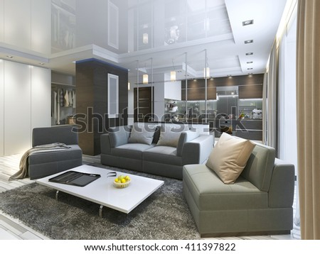 Luxury living room studio in a modern style with comfortable armchairs and a sofa in olive green. Studio apartment with kitchen and living room and a hallway with cloakroom. 3D render. - stock photo