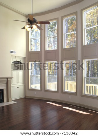 Luxury Living Room Window wall - stock photo