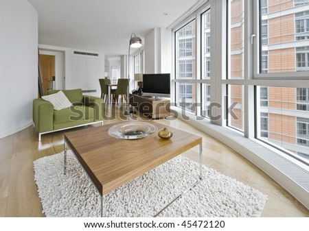 luxury living room with contemporary furniture and accessory - stock photo