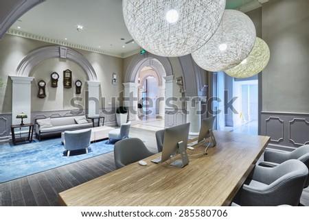 luxury lobby in modern hotel  - stock photo