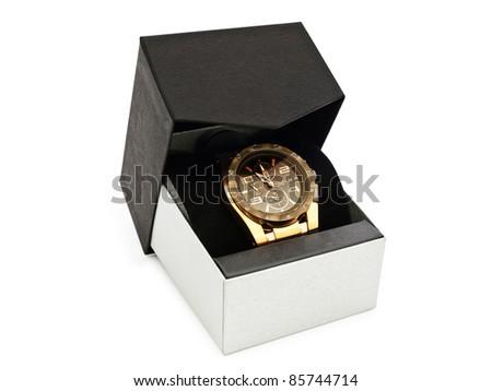 luxury man clock in gift box against white background - stock photo