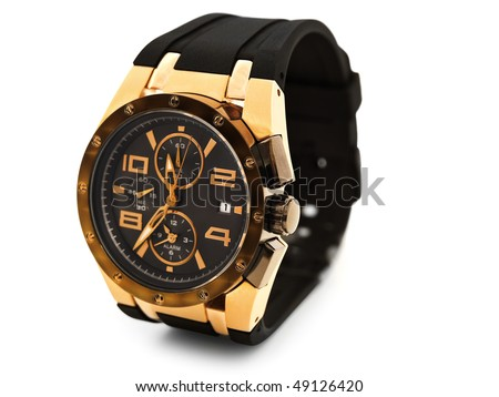 luxury man watch against white background - stock photo