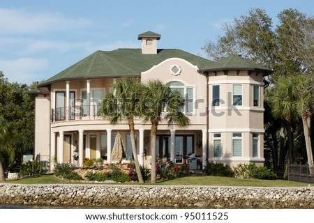 Luxury mansion  real estate on the water in Florida - stock photo