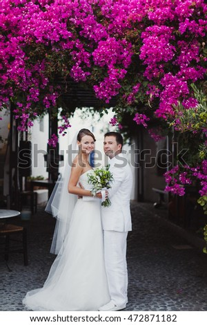 Luxury married wedding couple, bride and groom posing in greece