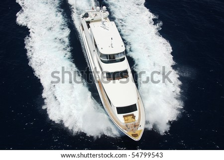 Luxury mega-yacht aerial view - stock photo
