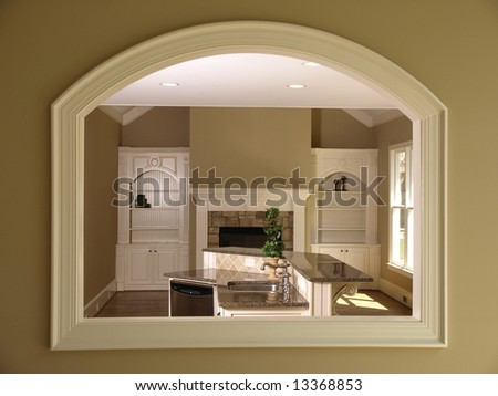 Luxury Model Home Den with window and Opening
