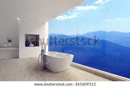 Luxury modern bathroom interior with a free standing tub overlooking a spectacular view of mountain ranges through a glass wall. 3d Rendering. - stock photo