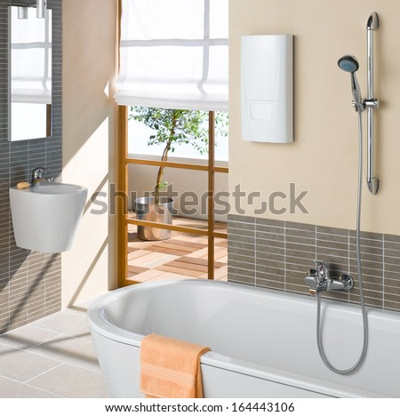 Luxury modern bathroom suite - stock photo