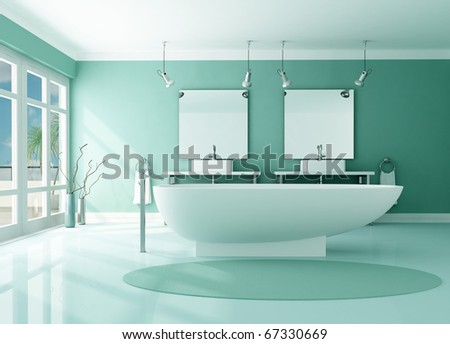 luxury modern bathroom with fashion bathtub and double sink -rendering