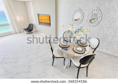 Luxury Modern Dining Room - stock photo