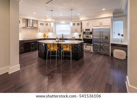Luxury Modern Kitchen And Dining Room, Area. Interior Design. Vertical.