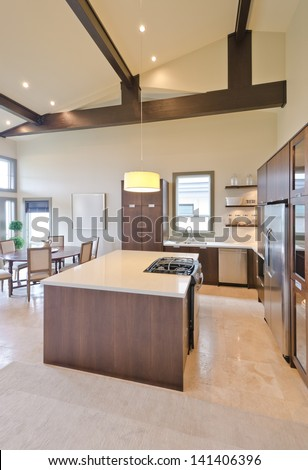 Luxury modern kitchen. Interior design. Vertical. - stock photo