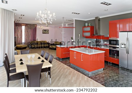 Luxury Modern Kitchen Interior in the pivate house. Guest room, studio.  - stock photo