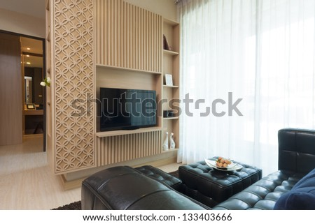 luxury modern style of decorated living-room. - stock photo