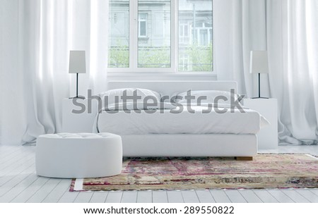 Luxury monochromatic white bedroom interior with elegant long drapes on large windows, and a double bed with cabinets and lamps on an oriental rug on a white parquet floor. 3d Rendering. - stock photo