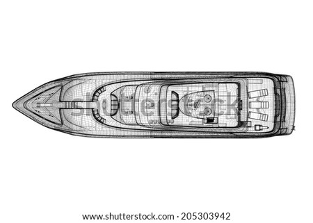 luxury motor yacht .  3D model body structure, wire model