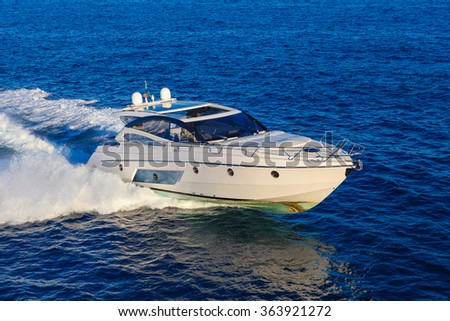 luxury motoryacht dirty - stock photo