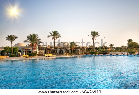 Luxury nice hotel swimming pool in the Egypt.