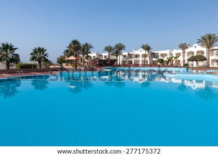 Luxury nice hotel swimming pool in the Sharm el Sheikh, Egypt. - stock photo