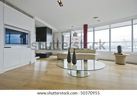 luxury penthouse apartments living room with designer features - stock photo
