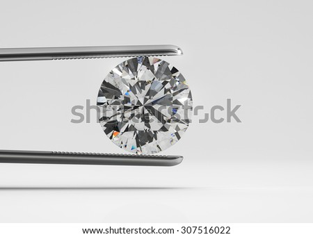 Luxury perfect shaped diamond in tweezers closeup with bright background - stock photo