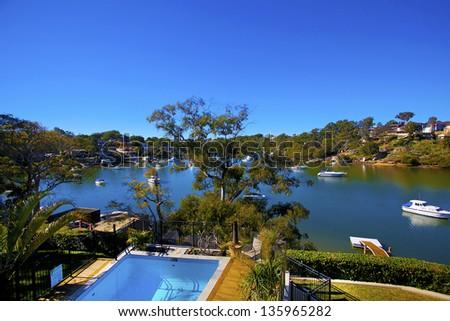 Luxury Pool against blue sky - stock photo