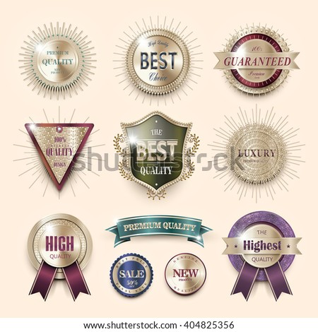 luxury premium quality labels collection over pearl pink background - stock photo