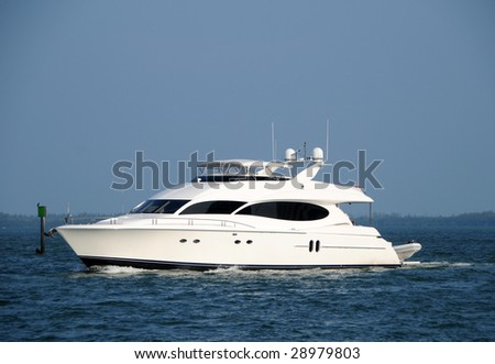 Luxury private yacht entering port