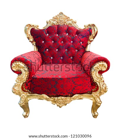 luxury red and golden armchair isolated with clipping path - stock photo