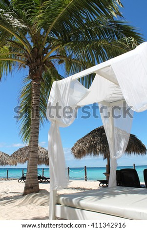 Luxury relax bed on a beautiful tropical beach in the caribbean with a blue sky, white sand and a palm tree