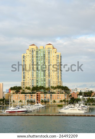 Luxury residences with boat marina in Miami, Florida - stock photo