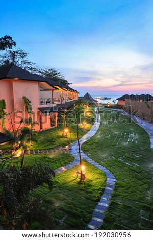 Luxury resort at sunset in thailand paradise - stock photo